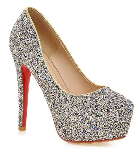 YE , chaussures compensées femme Blanc - Noir