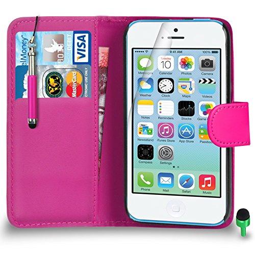 Apple iPhone 5C hülle Prämie Leder ROSA Brieftasche Flip Fall Abdeckung mit Einziehbar touch-Stylus GRÜN Kappe Bildschirmschutz & Poliertuch