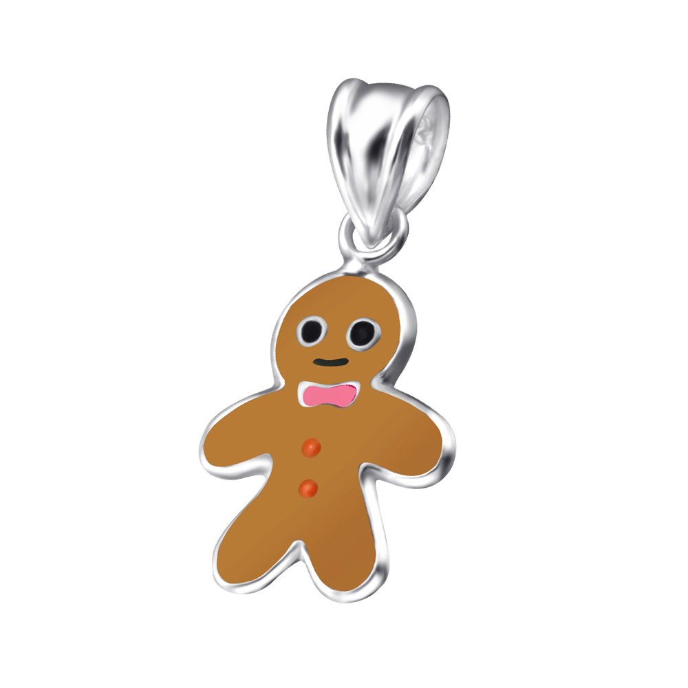 Small Sterling Silver Enamel Gingerbread Man Pendant