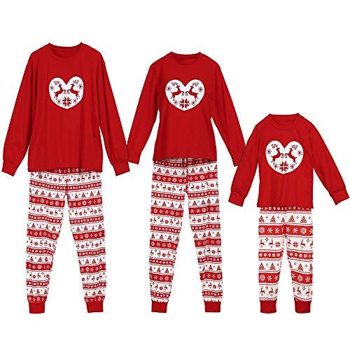 POLP Niño Navidad Familia Conjunto Pantalon y Top Fiesta Pantalones de Pijama de Ciervo de Navidad a Juego para niños Conjunto de Ropa de Dormir de Navidad Ropa de Dormir Dos Piezas Mujer Hombre