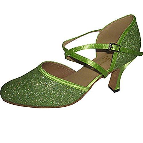 ShangYi Maßgefertigter Absatz - Glitter - Latin/Modern/Standard-Tanz Schuhe - Damen , green-us8.5 / eu39 / uk6.5 / cn40 , green-us8.5 / eu39 / uk6.5 / cn40 (Green Glitter Schuhe)