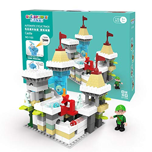 LRXGOODLUKE Puzzle Bausteine   Spielzeug, große Partikel Bausteine   Adventure Castle Elektro-Fahrrad Track Ball Rutsche Spielzeug ist sehr gut geeignet für Kinder EIN Geschenk - Große Trackball