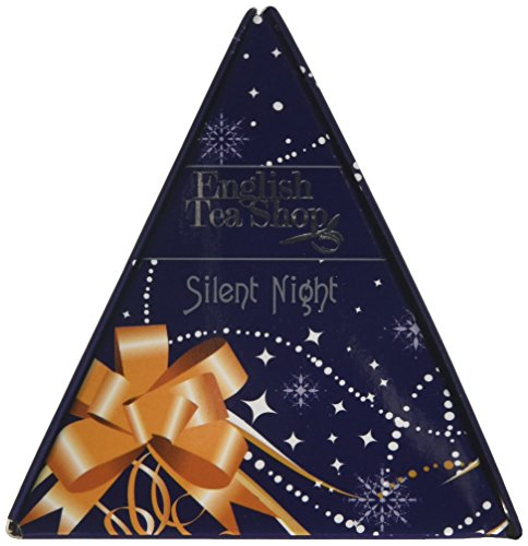 English Tea Shop X'mas Triangle Gift Silent Night Pyramid Tea Bag Gift (Pack of 4, Total 24 Tea Bags)