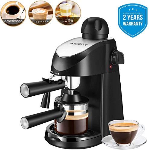 Macchina caffe espresso, Aicook 8 bar semiautomatica macchina caffe latte e cappuccino 2...