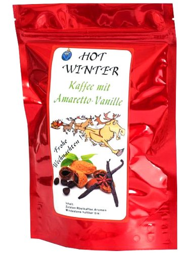 "aromatisierter Kaffee ""Hot Winter"" Amaretto Vanille 200 g ganze Bohne"