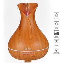 Tomshine 400ml Fresco Nebbia Umidificatore Ultrasonico Aroma Olio Essenziale Diffusore Venatura del Legno 7 Colori Cambia Lampada Per Casa Yoga SPA