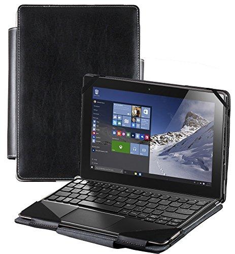 Navitech Schwarzes Leder Case Cover Tasche für das Lenovo ideapad MIIX 310