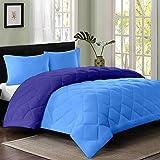 Reversible AC Double Bed Comforter/Blanket/Quilt/Duvet For Winters- Sky Blue & Navy Blue