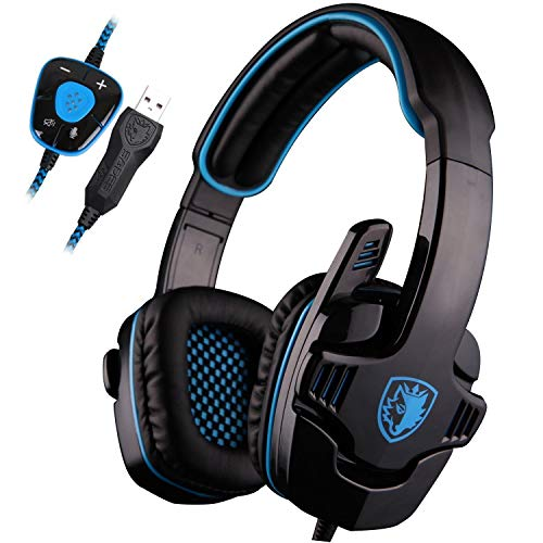 Sades SA901PC Game Surround Noise Cancelling Noise Reduction Gaming Headphones with Microphone Subwoofer Volume Control (Blue and Black) 1 Comfort Fit Headset