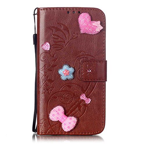 iPhone Case Cover IPhone 7 Case, un seul côté en relief motif de fleur PU étui en cuir, en résine strass Case Book Design Sangle pliable Case Wallet Stand Case pour Apple iPhone 7 ( Color : Pink , Siz Brown