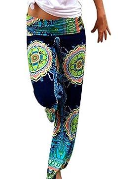 Moollyfox Pantalones Para Mujer Mujer Color Verde Pantalones Estampado Llamarada Ancho Pierna Palazzo Como Imagen...