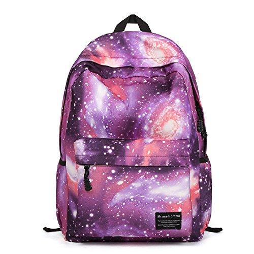 Minetom Sac À Dos Loisir Multi-Fonction Voyages Scolaire Backpack Femme Coloré Galaxie Univers Étoiles Fermeture Nylon Violet