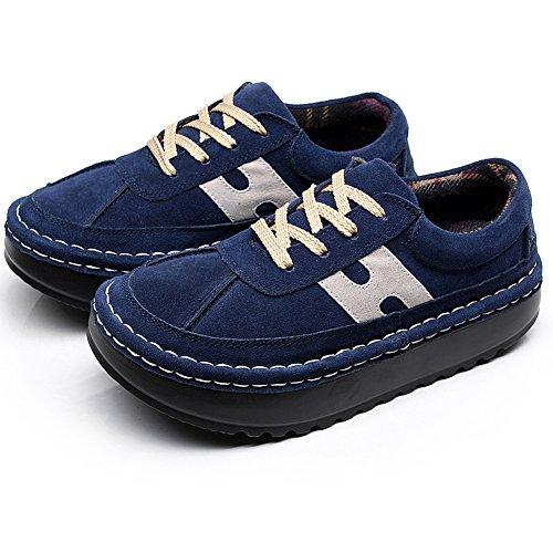 Shenn Donna piattaforma Casuale Confortevole pelle scamosciata Sneaker Scarpe Blu navy