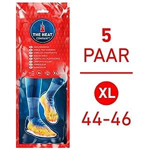 THE HEAT COMPANY Sohlenwärmer – EXTRA WARM – Wärmesohlen – Fußwärmer – 8 Stunden warme Füße – sofort einsatzbereit – luftaktiviert – rein natürlich – Größe X-Large: 44-46 – 5 Paar