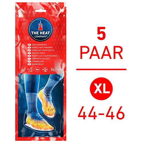 THE HEAT COMPANY Sohlenwärmer - EXTRA WARM - Wärmesohlen - Fußwärmer - 8 Stunden warme Füße - sofort einsatzbereit - luftaktiviert - rein natürlich - Größe X-Large: 44-46 - 5 Paar