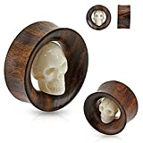 Carved Skull Inside Organic Sono Wood Saddle Fit Tunnel Plug 3/4 by Body Accentz Plug