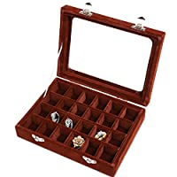 Meshela Velvet Glass Jewellery Ring Display Earring Organiser Case Tray Holder Earrings Storage Box