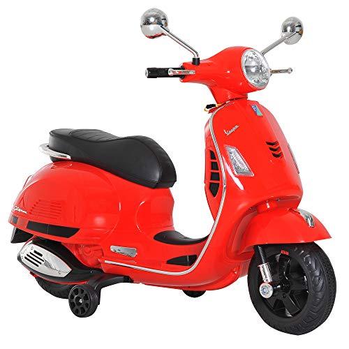 HOMCOM Elektrisches Kindermotorrad Elektro Motorrad Kinderauto Spielzeug Vespa Rot L102 x B50,5 x H75,5 cm (Kleine Mädchen, Die Elektro-roller)