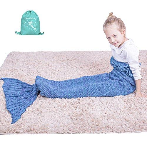 super warm and soft kids knitted mermaid blanket sleeping bag all seasons (lake blue)
