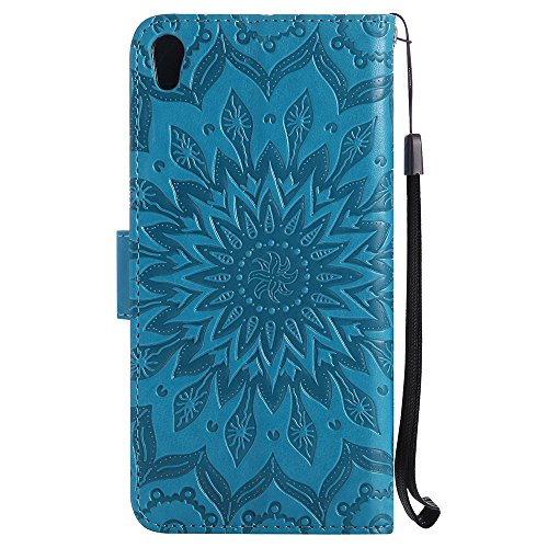 Für Sony Xperia E5 Fall, Prägen Sonnenblume Magnetic Pattern Premium Soft PU Leder Brieftasche Stand Case Cover mit Lanyard & Halter & Card Slots ( Color : Purple ) Blue