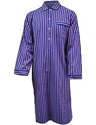 Chemise de nuit 100% coton à rayures - bleu / rouge / blanc - homme