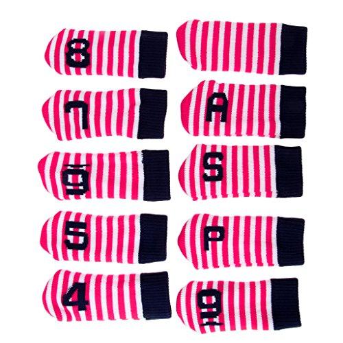 Baoblaze 10er Pack Gestrickte Golf Eisen Kopfbedeckung Set Club Putter Headcover Schlägerhaube - Rose Rot -