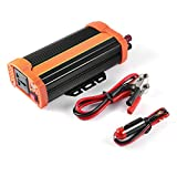 fEStprintse 500W Portable Car Power Inverter DC12V a AC220V Solar Inverter Cargador Modificado para TV DVD Player Negro