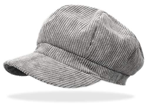 dy_mode Schirmmütze Damen Cord Kappe Ballonmütze Barett Cap - BM110 (BM111-Hellgrau) - Cord Newsboy