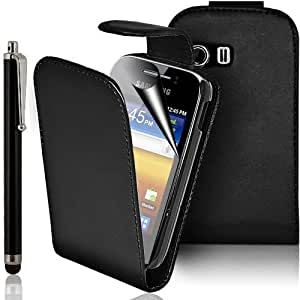 PU Leather Flip Case For SAMSUNG GALAXY Y GT-S5360 S5363 INCLUDING STYLUS PEN + SCREEN PROTECTOR + CLEANING CLOTH (Black)