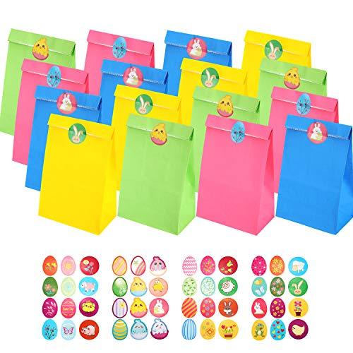 24 Stück Ostern Papier Party Taschen Geschenkbeutel Bastelpapier Einkaufstüten mit 48 Stück Ostern Aufkleber