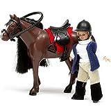 Unbekannt Puppenhaus Zubehör Pferd mit Reiterin, bewegliche Körperteile, Kleidung: Bewegliche Pferd Reiterin Kleidung Puppen Haus Puppenstube Zubehör Smaland Lundby