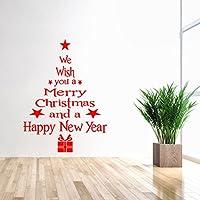 Autocollant de Mur de Noël,LMMVP Vinyle Amovible Autocollant Mural 3D Arbre de Noël Décalcomanies Pour Noël Sticker Mural (rouge, 43 x 24cm(W x H))