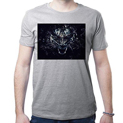 Illuminati Triangle Art Majestic Tiger Black Mad Herren T-Shirt Grau