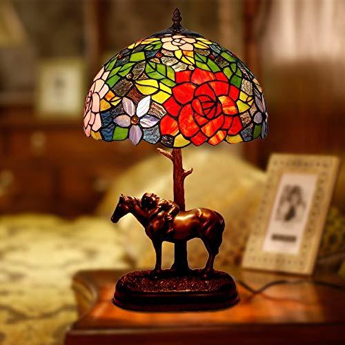 Huabei2 Crystal Chandelier LEDwall lamp Table lamp Tiffany Bankers Tischlampe Barock-Schreibtisch-Licht-Weinlese Buntglas Lampshade, for Nacht Wohnzimmer Schlafzimmer Büro Dekorative Pony Tischlampe