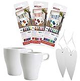 edding 4200 Porzellanpinselstifte in 18 verschiedenen Farben im Set mit 2 Tassen und 2 Porzellanherzen (18 Stifte + 2 Tassen + 2 Porzellan-Herzen)