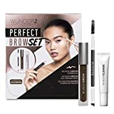 WUNDER2 WUNDER2 Perfect Brow set- Wunderbrow impermeabile, gel per sopracciglia Wundercleanse struccante & Dual Precision Brow Brush – , colore: Nero/Marrone