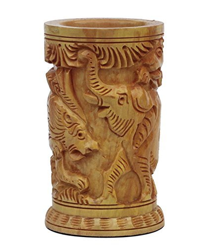 souvnear-10-cm-wooden-pen-stand-holder-tumbler-shaped-in-light-brown-color-with-hand-carved-elephant