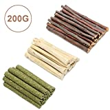 Mix Apple Sticks Pet Chew Toys 3 Types of Combined, Guinea Pig Chew Molar Sticks Toys, All Natural Apple Branch, Timothy Stick, Sweet Bamboo, for Rabbits, Hamster, Chinchilla