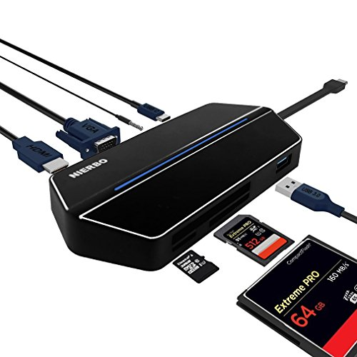Hub USB C, nierbo 8in 1Typ C Multiport Adapter, 1080P Unterstützung Audio-Ausgang HDMI und VGA Dual, USB 3.0Anschluss, CF/SD-Kartenleser