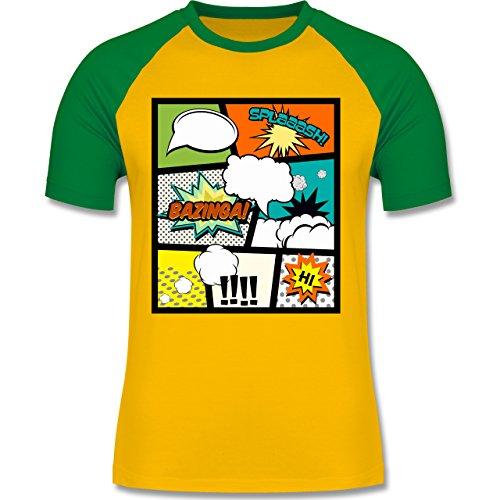Comic Shirts - Comic Buchseite - zweifarbiges Baseballshirt für Männer Gelb/Grün