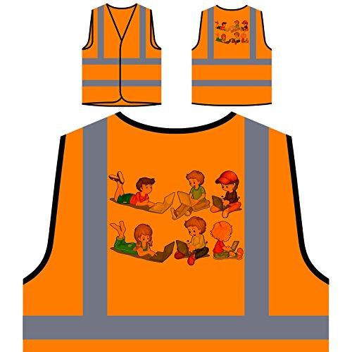 Niños y niñas con ordenadores portátiles nuevo Chaqueta de seguridad naranja personalizado de alta visibilidad g131vo