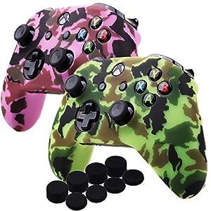 YoRHa Wassertransferdruck Silikon Hülle Abdeckungs Haut Kasten für Microsoft Xbox One X & Xbox One S controller x 2 (pink & gelb) Mit PRO aufsätze thumb grips x 8