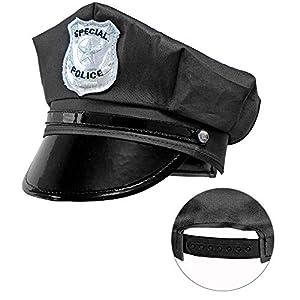 WIDMANN 03328 - Gorro de policía para adultos, talla ajustable, unisex, color negro, talla única
