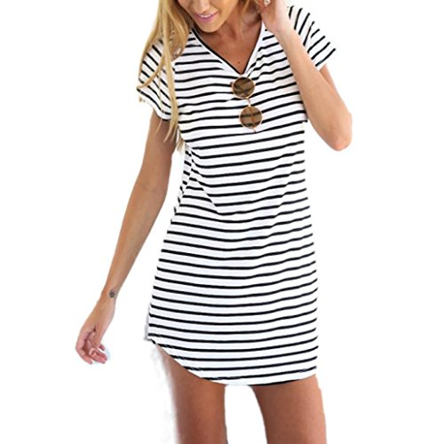 Elecenty Damen Hemdkleid T-Shirt Blusekleid T-Shirtkleid Sommerkleid Kleider Frauen Rundhals Kurzarm Mode Kleid Minikleid Kleidung (M, Weiß) (Kleid Weißes T-shirt)