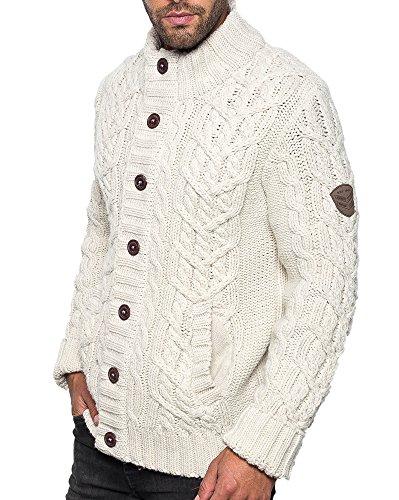 Legenders - Gilet blanc homme maille épaisse boutonné Blanc