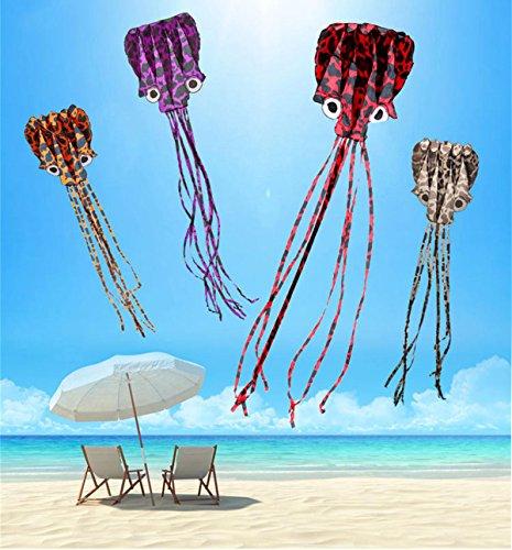 puqu enorme pulpo forma cometa Colorful 197'(500cm) largo x 50(127cm) amplia con 100m/328feet línea de vuelo y portátil bolsa de transporte para niños adultos al aire libre juegos actividades de Beach Park regalo juguetes, Purple Black