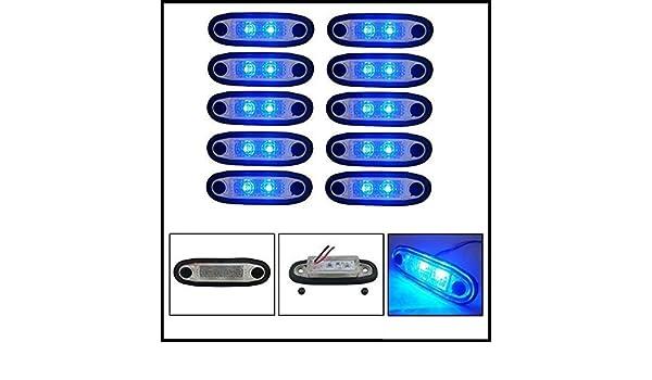 10 X LED FLUSH CLEAR BLUE MARKER LIGHTS INDICATOR LAMPS 24V TRUCK LORRY FOR ROOF SIDE BULL BAR KELSA