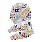 Baby Kleidung Set,BeautyTop 2pcs/Set Neugeborenen Baby Mädchen Jungen Karikaturdruck Jacke Mantel Tops + Hosen Outfits Kleidung Set (Grau, 0-6 Monate)