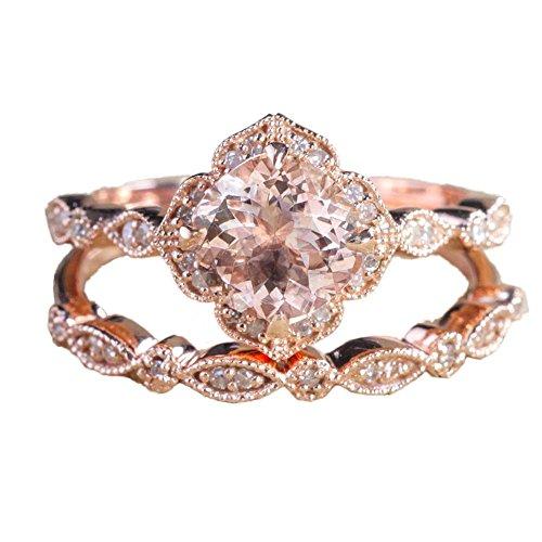 2Stk Glänzende Kristall Ring Rose Gold Damen Fashion Ring Set Hochzeit Gerburstag Geschenk