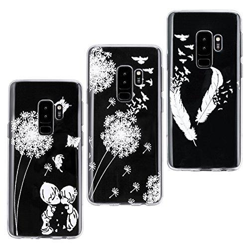 Produktbild Galaxy S9 Plus Hülle Transparent,  ZXK CO 3 Stück Weich TPU Silicone Hülle Case Durchsichtig Ultra Dünn Schutzhülle Handyhülle für Samsung Galaxy S9 Plus -Löwenzahn und Löwenzahn Liebhaber und Weiße Feder
